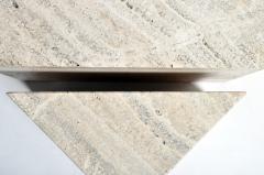 Impressive Italian Travertine Marble Three Part Polygon Coffee Table - 1194182