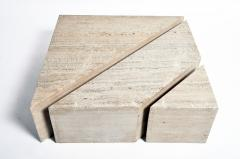 Impressive Italian Travertine Marble Three Part Polygon Coffee Table - 1194183