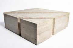 Impressive Italian Travertine Marble Three Part Polygon Coffee Table - 1194185