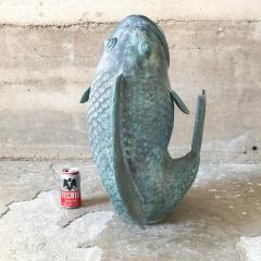 Impressive Koi Fish Sculpture in Solid Bronze Lovely Legendary Japanese Art - 1689764