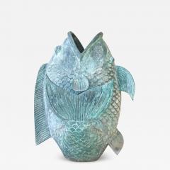 Impressive Koi Fish Sculpture in Solid Bronze Lovely Legendary Japanese Art - 1692928