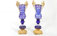 Impressive Pair Bronze Mounted Cut Crystal Vases - 1340812