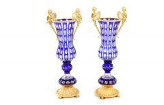 Impressive Pair Bronze Mounted Cut Crystal Vases - 1340814