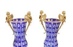 Impressive Pair Bronze Mounted Cut Crystal Vases - 1340815