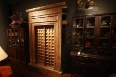 Impressive Set of Carved Indian Doors with Thick Surround - 1844903