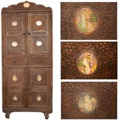 Indian Vine Carved Eglomise Plaqued Corner Cabinet - 1465886