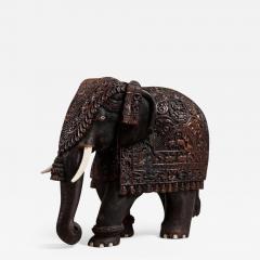 Indian carved hardwood elephant - 900211