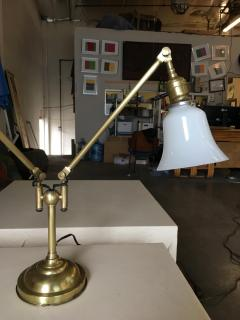 Industrial Articulating Brass Dual Desk Lamp w Bell Shades - 1348110