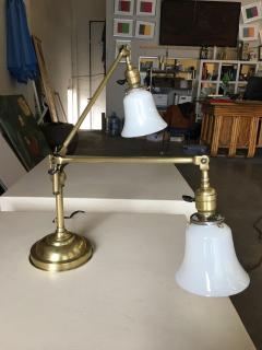 Industrial Articulating Brass Dual Desk Lamp w Bell Shades - 1348114