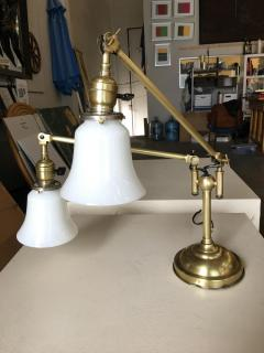Industrial Articulating Brass Dual Desk Lamp w Bell Shades - 1348115