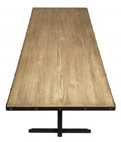 Industrial Dining Table with Cerused Wood Top - 745732