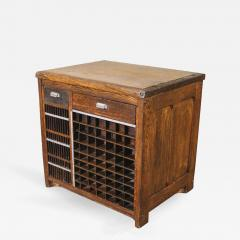Industrial Marble Top Wooden Counter Storage Parts Cabinet With Cubby Holes    322513