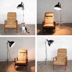 Industrial pair of photographers floor lights tripod base aluminum steel - 1693085