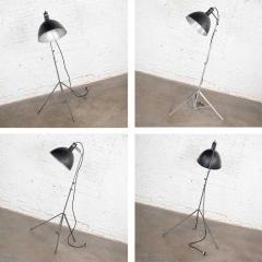 Industrial pair of photographers floor lights tripod base aluminum steel - 1693086
