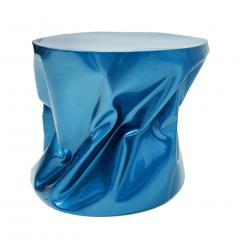 Ines Benavides Contemporary Modern Sculptural Metal Lacquered Blue Seat Side Table - 1066333