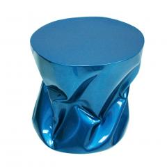 Ines Benavides Contemporary Modern Sculptural Metal Lacquered Blue Seat Side Table - 1066337