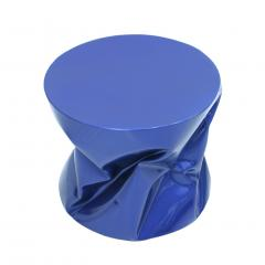 Ines Benavides Contemporary Modern Sculptural Metal Lacquered Blue Seat Side Table - 1317575