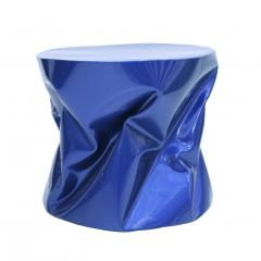 Ines Benavides Contemporary Modern Sculptural Metal Lacquered Blue Seat Side Table - 1317576