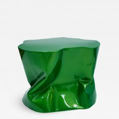 Ines Benavides Contemporary Modern Sculptural Metal Lacquered Green Seat Side Table - 1091646