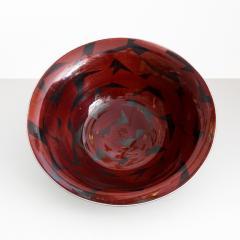 Inger Persson INGER PERSSON LARGE STUDIO BOWL IN RED BLACK 1988 Scandinavian Modern - 1646476