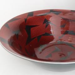 Inger Persson INGER PERSSON LARGE STUDIO BOWL IN RED BLACK 1988 Scandinavian Modern - 1646477