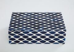 Ink Blue Cream Resin Fishnet Box - 1576435