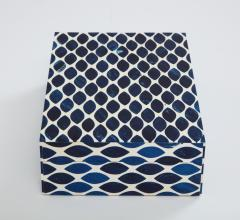 Ink Blue Cream Resin Fishnet Box - 1576439