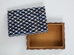 Ink Blue Cream Resin Fishnet Box - 1576441