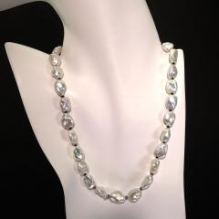 Iridescent Silver Baroque Freshwater Pearl Necklace with Diamond Accents - 1701286