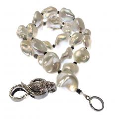 Iridescent Silver Baroque Freshwater Pearl Necklace with Diamond Accents - 1701291