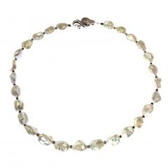 Iridescent Silver Baroque Freshwater Pearl Necklace with Diamond Accents - 1701301