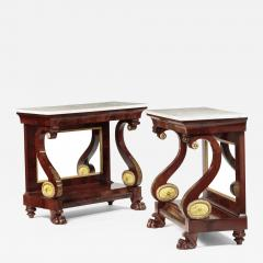 Isaac Jones Pair of Philadelphia Stencil Decorated Pier Tables - 723446