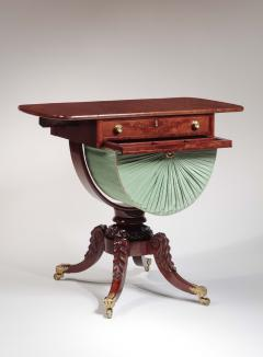 Isaac Vose Carved Mahogany Work Table with Demi Lune Bag - 1226534