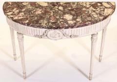 Italian 18th Century Demilune Ivory Painted Console Table Louis XVI Period - 1622619