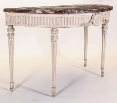 Italian 18th Century Demilune Ivory Painted Console Table Louis XVI Period - 1622624