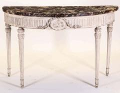 Italian 18th Century Demilune Ivory Painted Console Table Louis XVI Period - 1622639