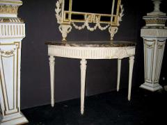 Italian 18th Century Demilune Ivory Painted Console Table Louis XVI Period - 1622642