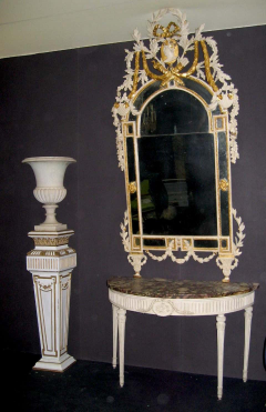 Italian 18th Century Demilune Ivory Painted Console Table Louis XVI Period - 1622643
