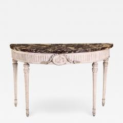 Italian 18th Century Demilune Ivory Painted Console Table Louis XVI Period - 1624848