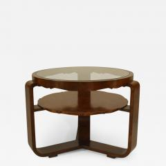 Italian 1940s Burl Walnut Circular Coffee Table - 448684