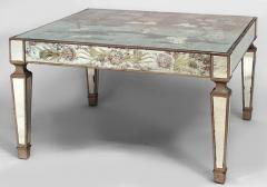 Italian 1940s Reverse Painted Mirrored Square Coffee Table - 443150