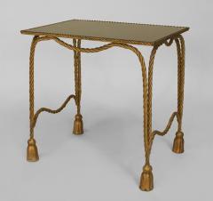 Italian 1940s Rope and Tassel Design Gilt Metal Rectangular Low End Table - 447553