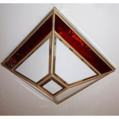 Italian 1950s Art Deco Style Pair of Red White Frosted Glass Sconces Flushmounts - 1093387