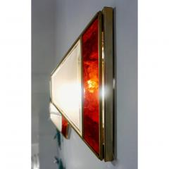 Italian 1950s Art Deco Style Pair of Red White Frosted Glass Sconces Flushmounts - 1093388