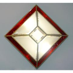 Italian 1950s Art Deco Style Pair of Red White Frosted Glass Sconces Flushmounts - 1093390