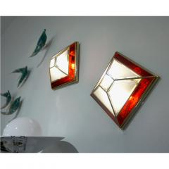 Italian 1950s Art Deco Style Pair of Red White Frosted Glass Sconces Flushmounts - 1093391
