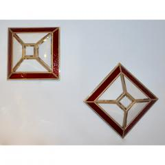 Italian 1950s Art Deco Style Pair of Red White Frosted Glass Sconces Flushmounts - 1093394