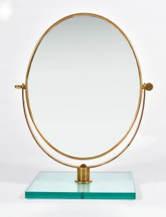 Italian 1950s brass table mirror on glass stand in the style of Gio Ponti - 1281617