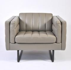 Italian 1960s Grey Leather Lounge Chairs - 685129