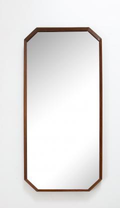 Italian 1960s Rosewood Octagonal Wall Mirror - 2096664